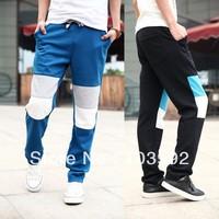 2014 new arrive casual 50% cotton men's clothing Hit color men loose long sport pants ,big size 3 color blue black green