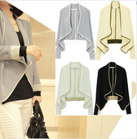 Women FUll Sleeve Shoulder Pad  Loose Short Jacket Coat 4 Color  #LX003