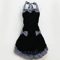 Women's Korea Sryle Restaurant Kitchen Bib Apron Dress Waist Cloth Clothing with Pocket White&Black Bowknot Canvas
