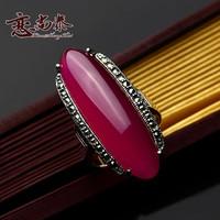 925 pure silver red corundum ring vintage women's