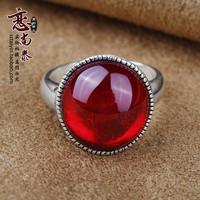 925 pure silver red corundum green agate ring fashion vintage circle