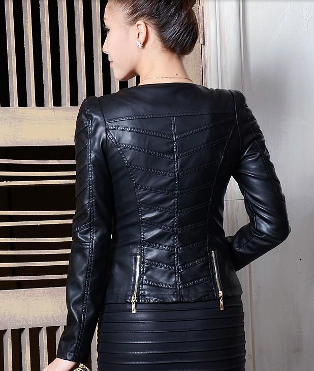 Весна женщины кожа куртка короткая с круглым вырезом куртки женщины приталенный верхняя одежда пальто мотоцикл кожа куртка