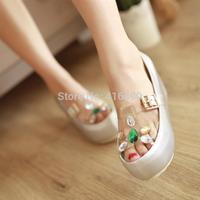 Free shipping 2014 rhinestone transparent platform wedges sandals jelly open toe shoe female