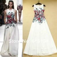 Free shipping! High Quality 2014 Newest Runway Maxi Dress Women's Fashion Brief Print Floral Sleeveless Floor Length Long Dress