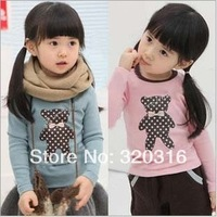Free shipping,Spring children's long sleeve T shirt,Cotton children's clothing wholesale bow tie Bear  bottoming T-shirt TZ18A15
