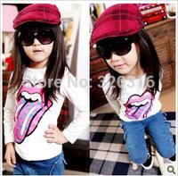 Korean foreign trade children's clothing wholesale brand T-shirt girls big mouth  shirt bottoming shirt TZ18A32