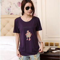 2014 Korean New Women Top Casual Loose Plus Size Cartoon Printing O-neck Short Sleeve Pure Cotton T Shirt Women 3021# M/L