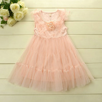 Kid apparel  New  2014  Girl Dress  Baby Girls  Summer Fashion  Lace Pearl Flower Gauze Dresses  5pcs/lot Children Dresses