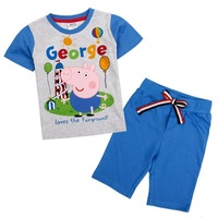 2014 new NOVA short and t shirt Kid Boys Summer Suit PEPPA pig letter summer clothing sets short sleeve shorts fit 1-6yrs CD4743