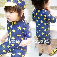 The new spa Korean boys and girls children's swimwear piece swimsuit boy star sun swimsuit