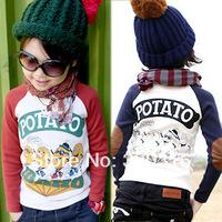 Free shipping,Spring children's long sleeve T shirt,Cotton brand children cotton T-shirt Kids bottoming shirt Children TZ18A23