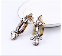 Free Shipping Vintage Clear Rhinestone Leaves  Earrings For Women 2013 Fashion Jewelry For Christmas Gifts