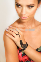 FREE SHIPPING 2014 Style HA-15 Women Fashion Gray-black Plated Chain Six Strands Hand Finger Chain Jewelry