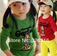 Free shipping,Spring children's long sleeve T shirt,Cotton T-shirt bottoming shirt Garfield TZ18A54