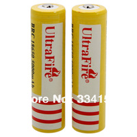 Free shipping 2pcs Ultra Fire 18650 3.7V 5000mAH Lithium Battery Yellow
