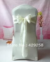 Wholesale 100pcs Cream Satin Chair Sashes Bows Ribbon 15cmX275cm Wedding/HOT/Free shipping