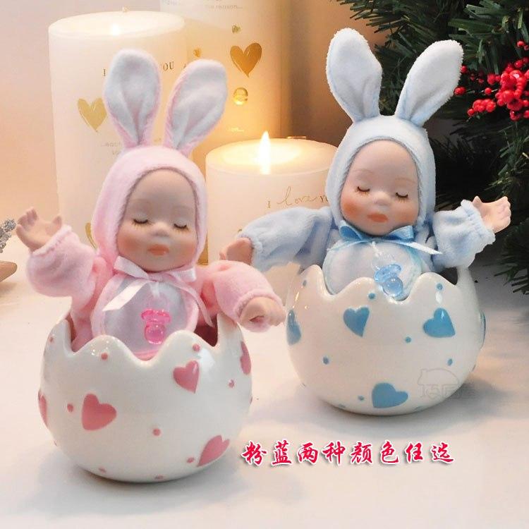 Cerâmica coelho boneca cabeça bobble caixa de música caixa de música presentes de casamento presente de aniversário das meninas(China (Mainland))