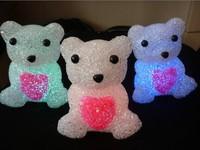 10pcs/lot Colorful crystal care bear night light crystal night light Large ,size 14 * 10cm  free shipping