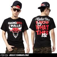 Bull hiphop short-sleeve T-shirt plus size hip-hop skateboard men's shirt