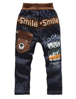 free shipping Wholesale boy's pants little boy's bear printing denim trousers, children jeans  1lot=4pcs