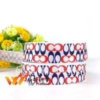 "Free shipping logo ribbon 50 yards 7/8""22MM  printed grosgrain ribbon 46600-XW-1092-022"
