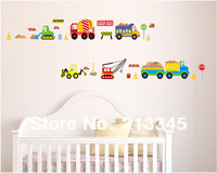 [Saturday Mall] - 2014 home art new wall sticker kids cartoon car transport nursery children's room bedroom decor decals 5214