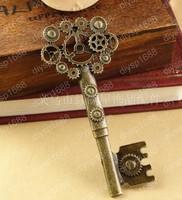 20pcs/lot Zinc alloy bead Antique Bronze Plated Key Shape Charms Pendants Fit Jewelry DIY 31*71MM JYA3413