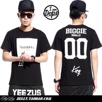 Smalls king digital biggie notorious big 100% cotton t-shirt men's short-sleeve hiphop hip-hop t-shirt