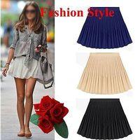 Hot selling Retro Lady Pleated Chiffon High Waist Mini Skirt Double Layer