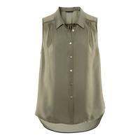 Brand Women Style 2014 Spring And Summer Army Green Sleeveless Plus Size Chiffon Shirt XXL Free Shipping