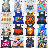free shipping 2014 NEW men 3D Tank Tops fashion 3D Candy / Europe / mask Tees M/L/XL/XXL