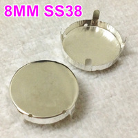 500Pcs/Lot 8MM Sew on Round Silver Plating Settings Open Back 4 holes