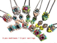 New arrive 2014 women fashion shourouk earring matching necklace for women jewelry wholesale 6 sets