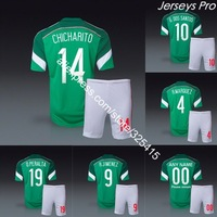 Mexico 2014 world cup jersey and short home green soccer uniforms football kits chicharito dos santos Guardado Peralta Marquez