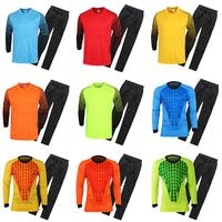 A+++ Soccer Top Men Goalkeeper Sponge Protector Suit Camisetas De Futbol Jersey Goal Keeper Uniforms Pant