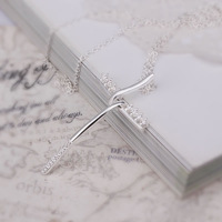 Free Shipping 925 Silver fashion jewelry Necklace pendants Chains, 925 silver necklace inlaid cross necklace quog ctok