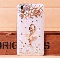 For HTC T528D Ballerina plastic Rhinestones case