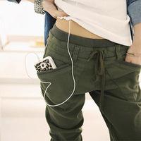Harem pants plus size pants mm fashion autumn and winter sports 100% cotton loose casual long trousers