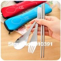 Protable metal Three-piece tableware Eco-friendly stainless steel chopsticks fork spoon as handy travel outdoor tableware tool.