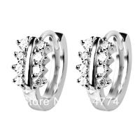 GNE0470 Free shipping Genuine 925 Sterling silver Jewelry Earrings 13.5*5.4mm Fashion Zircon Hoop Earrings for Women