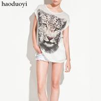 women t shirt 2014 white brief loose steller's women's tiger pattern t-shirt long design haoduoyi,free shipping