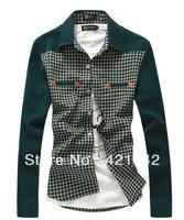 2014 MENS VINTAGE PLAID CHECK LONG SLEEVE SHIRT,slim fit, shirts for men,High Quality T-SHIRT