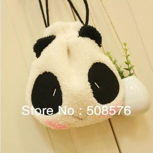 New cute panda Shrink Pencil bag / drawstring Cosmetic bag / storage Pouch / Wholesale(China (Mainland))