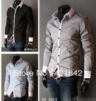 NEW 2014 Men's Shirts Korean Fashion Stylish Casual Trim Slim Fit Dress Long Sleeve free shipping