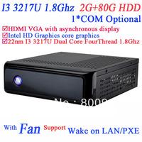 Mini ITX Based Computers IN-3217u with Intel 22NM I3 3217U dual core four thread processor 1.8GHz TDP 17W 2G RAM 80G HDD