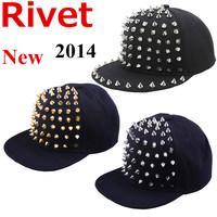 Free Shipping New 2014 Spring Summer Fashion Snapback Hats Studded Rivets Hip Hop Hat Black Baseball Caps Men Women Punk Cap