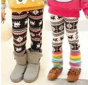 Retail 1 pcs free shipping 2014 winter kids girls velvet thickening warmer leggings. children pants snow flake design(China (Mainland))