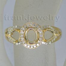Vintage Three Stones Solid 14Kt Yellow Gold Natural Semi mount Ring WU143(China (Mainland))
