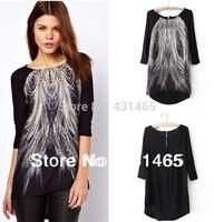 2014 Spring Brand New peacock feather Printed women casual shirts cotton chiffon zipper blouses shirt free shipping