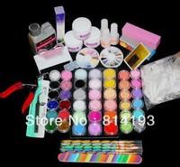 2014 Free Shipping Acrylic Powder Liquid Kits Uv Gel Nail Art Tip Set Dust Stickers Brush